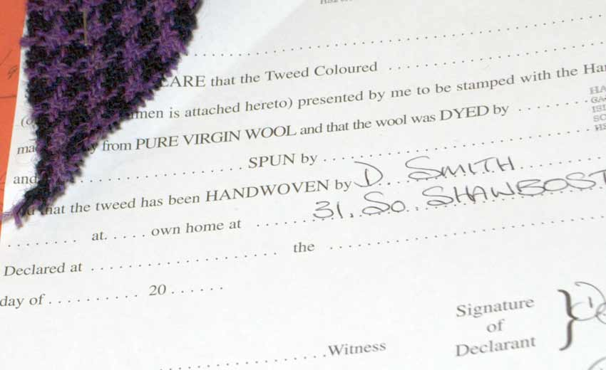 Harris Tweed Legal Declaration